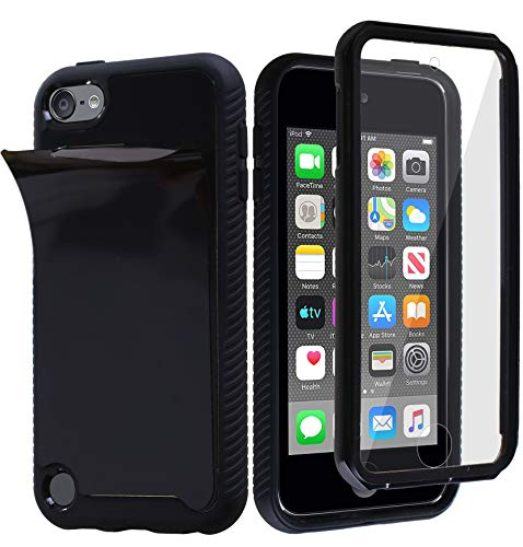 MONCABILE Stick on The Wall Phone Case That Sticks to Anything -[Drop Protection] Built in Screen Protector Anti Gravity Sticky Phone Case for iPod Touch 5/6/7th Generation (Black-iPod 5/6/7)