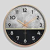 YUANDAKEJI Orologio da Parete in Metallo Orologio al Quarzo Digitale Orologio da Soggiorno Orologio da Parete con Cornice in Alluminio Orologio Lato Stretto 12 Pollici 30 cm