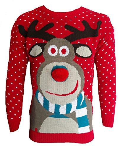 Get The Trend Blush Avenue® Herren Strickpullover mit Weihnachtsmuster Unisex, gestrickt, Rot XL