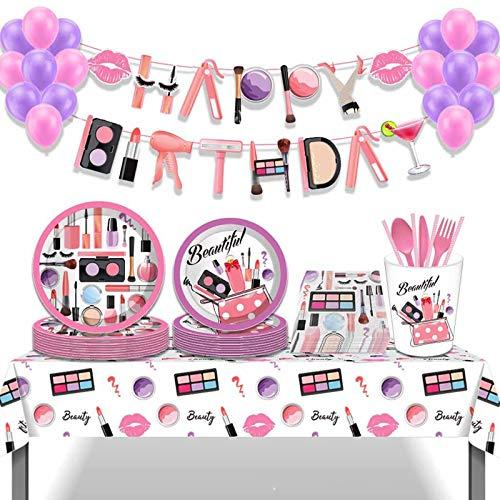 Kit de 115 piezas para spa y fiesta de cumpleaños, incluye cubiertos, diseño de globos