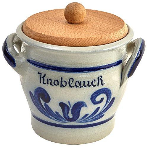 vivApollo Knoblauchtopf mit Holzdeckel Vorratsdose Original westerwälder Kannenbäckerland salzglasierte Steinzeug Keramik (OneSize, geblaut)