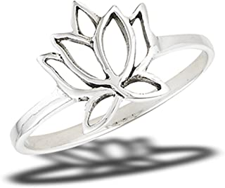 Filigree Lotus Flower Vintage Ring New .925 Sterling Silver Band Sizes 4-9