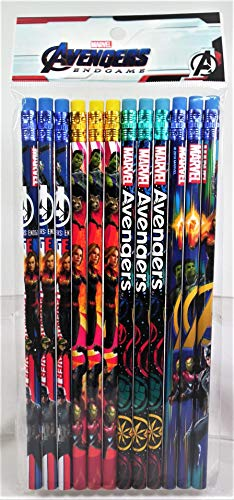 12 Marvel Avengers Endgame Wooden Pencil Cartoon Character Authentic Licensed School Party Bag Fillers