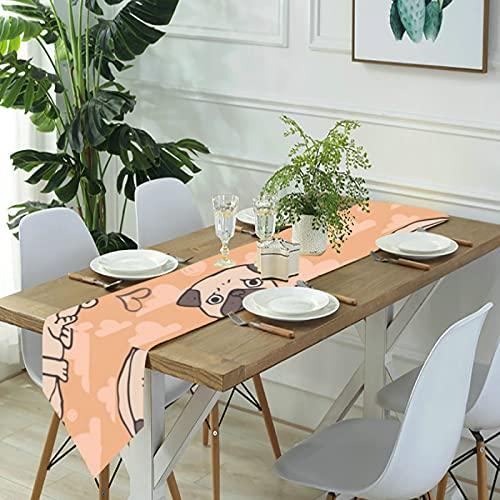 Reebos Camino de mesa de lino para aparador, caminos de mesa de cocina, color naranja, para cenas de granja, fiestas de vacaciones, bodas, eventos, decoración - 33 x 70 pulgadas