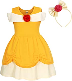AmzBarley Princess Belle Costume for Girls Fancy Party Deluxe Beauty Kids Dress up Outfits