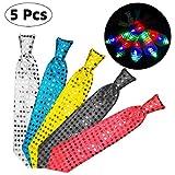 Danolt 5 Stücke LED-Blitz Krawatte Mix Farbe Glowing Tie Leuchten Spielzeug Unisex Glitter Krawatte...