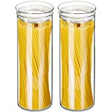 ZENS Glass Pasta Storage Containers, Airtight Tall Spaghetti Jars Set with Lids, 65.5 Fluid Ounce Clear Sealed Kitchen Canisters of 2 for Noodles Flour -1950ML