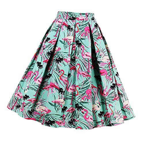Dames jurk vintage zomerrok knielange plooirok High Waist Rock A modieuze lijnen rok bord rok flamingo patroon
