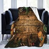 Manta de forro polar ultrasuave para adultos, con diseño de pan de jengibre, caja de regalo de coníferas, canela, postre de madera rústica, suave y cómoda manta de sofá de 127 x 101 cm