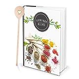 Grande Hard Cover XXL libro de recetas DIN A4libro de cocina para escribir Especias Hierbas Plus Cuchara Corazón Recetas selbermachen y Decora con registro y 164vaciado en blanco páginas como regalo