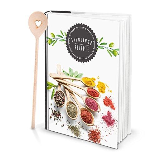 Cadeauset Grote HARDCOVER XXL receptenboek DIN A4 kookboek notitieboek om zelf te schrijven kruiden + kooklepel hart recepten zelf maken en maken met register keuken kookcadeau