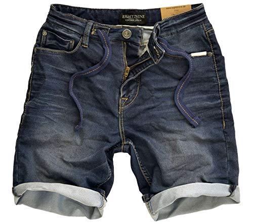 Eight2Nine Shorts sommerliche Herren Bermudas im Vintage-Style Sommer-Hose Freizeit-Hose Dunkelblau, Größe:W30