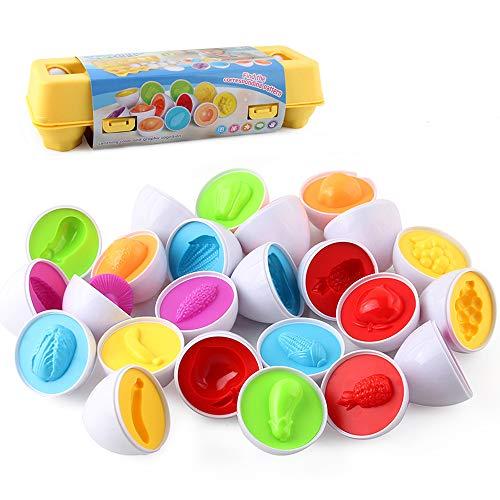 VCOSTORE Uova Giocattoli educativi Set di Colori e Forme Puzzle Ordinamento delle Uova capacità di riconoscimento Giocattolo di apprendimento per Bambini Piccoli Bambini