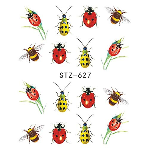 1Pcs Summer Nail Art Water Decal Transfer Sticker Wraps Tattoo Bee Sliders Nail Design Lacquer Manicure Decorations JISTZ620-627
