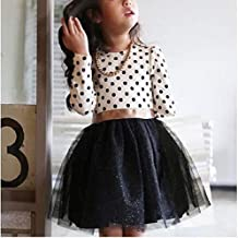 Kids Clothing Dot Pattern Long Sleeve Dress Tutu Child Girl Party Costume, Height:120cm(White Shirt+ Black Skirt) Boys Clothing (Color : White Shirt+Black Skirt)
