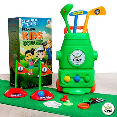 (LAB Tested) - Premium Kids Golf Clubs 3-5 - Kids Golf Set - Toy Golf Set - Toddler Golf Set - Golf Toys for Kids - Mini Golf Set - Baby Toddler Golf Clubs - Plastic Play Golf Clubs - Age 2 3 4 5 6 +