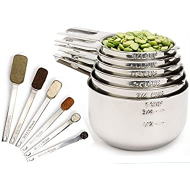 easuring Cups and Measuring Spoons set by Simply Gourmet. Stainless Steel Measuring Cups and Spoons Set of 12. Liquid Measuring Cup or Dry Measuring Cup Set. Stainless Measuring Cups, Nesting cups