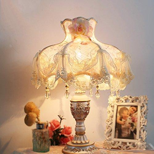 Bonne chose lampe de table Lampe de table Chambre à coucher Salon Européen Pastoral Style Princesse Mariage Lace Lampe décorative