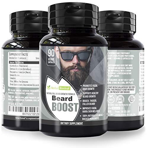 HR Beard Growth Supplements for Men – Promotes Healthy Facial Hair Growth for Men, Thicker Stronger Fuller Beard, Crecimiento de Barba, All Natural Clinically Approved, 100% Vegan Beard Vitamins