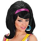 WIDMANN 60 Mod - Negro peluca de accesorio del pelo del vestido de lujo
