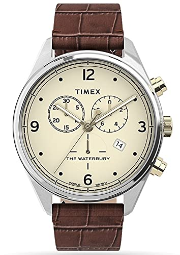 Timex Waterbury TW2U04500 - Reloj de pulsera para hombre (cronógrafo, analógico, cuarzo, con correa de piel marrón)