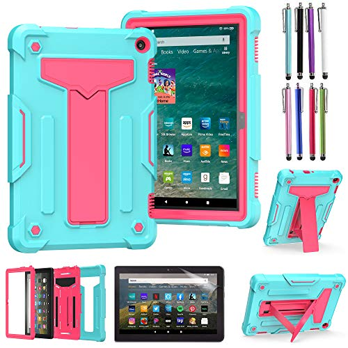 EpicGadget Case for Amazon Fire HD 8 / Fire HD 8 Plus (10th Generation, 2020 Released) - Heavy Duty Hybrid Protective Case Cover with Kickstand + 1 Screen Protector and 1 Stylus (Teal/Pink)