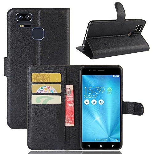 Owbb Hülle für Asus Zenfone 3 Zoom S ZE553KL Ultra Schlanke Handyhülle Premium PU Ledertasche Flip Cover Wallet Hülle mit Stand Function Innenschlitzen Design Schwarz
