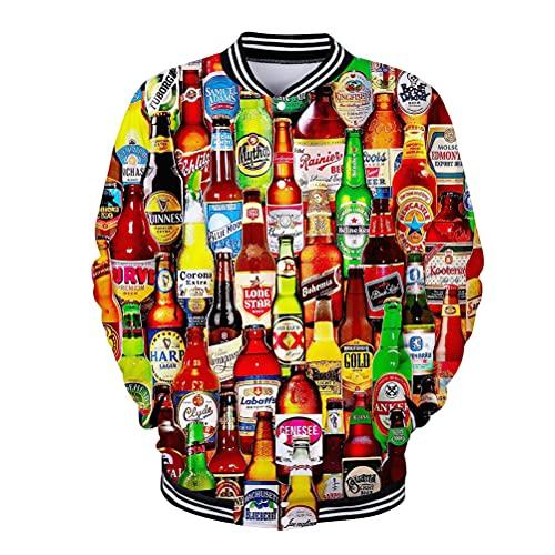 3D Desgastar 3D botella de cerveza y gorra de moda sudadera elegante otoño abrigado de deportes de otoño, abrigos de algodón suaves y gruesos para hombre, con capucha de manga larga, con capucha, livi