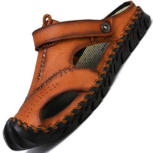 tqgold® Sandalen Herren Leder Clogs Sommer Outdoor Sport Geschlossen Hausschuhe Freizeit Pantoletten(Braun,Größe39)