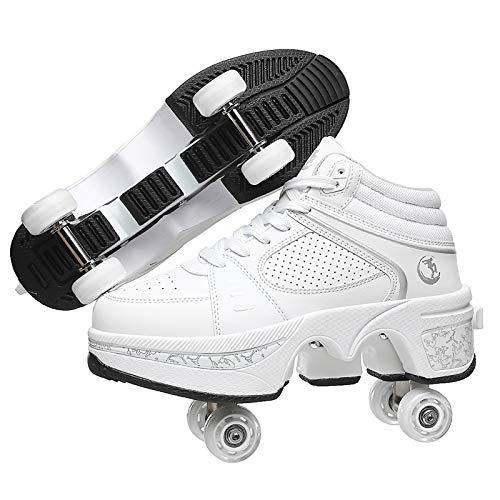 DUDUCHUN Patines 4 Ruedas Profesionales Patines De Hielo Polea Zapatos Multifuncional Deformación Patinaje sobre Quad Skating Deportes Al Aire Libre para Adultos Niño