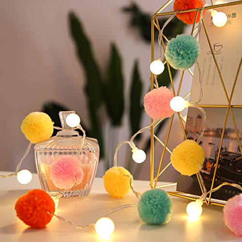 Battery Operated 20 LED String Lights, 9.8ft Globe Pompoms Balls Christmas Indoor Fairy String Lights Decorative for Bedroom Party