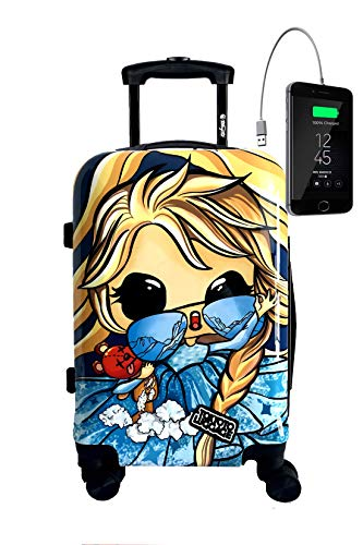 TOKYOTO Ice Princess Cabin Luggage 55x35x20 Suitcase 20 inch in Ryanair Easyjet Lightweight 4 Wheel Hard Case Kids Children with Powerbank 8000mAh Charger