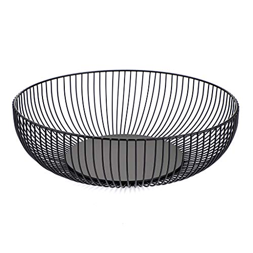 OwnMy Metal Wire Fruit Basket Stand Countertop Fruit Bowl Basket Holder - Iron Large Fruit Plate Round Storage Baskets Trays for Bread, Snacks, Candy, Black Modern Fruit Bowls for Kitchen Home Table