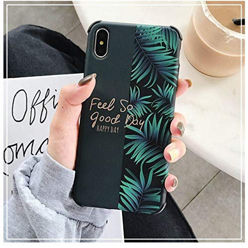 JLFDHR Funda de teléfono de Flores de mármol Samsung A40 A50 A70 S10 Lite S8 S9 Plus Funda para iPhone XR XS MAX 7 8 6 6S Plus-A70-Green Leaf