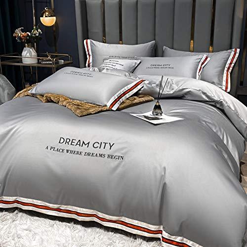 funda de edredón 150,La seda de lavado de agua de verano es un juego de cama de lujo ligero en una sola cama de cuatro piezas-PAG_1,5 m la cama (4 piezas) [Adecuado para el núcleo 200x230cm]