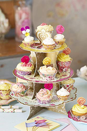 Talking Tables Tea Party Decorations Floral Cake Stand   Truly Scrumptious   Great For Birthday Party, Baby Shower, Wedding And Anniversary   Paper, 3-Tier Pink, Blue, Yellow