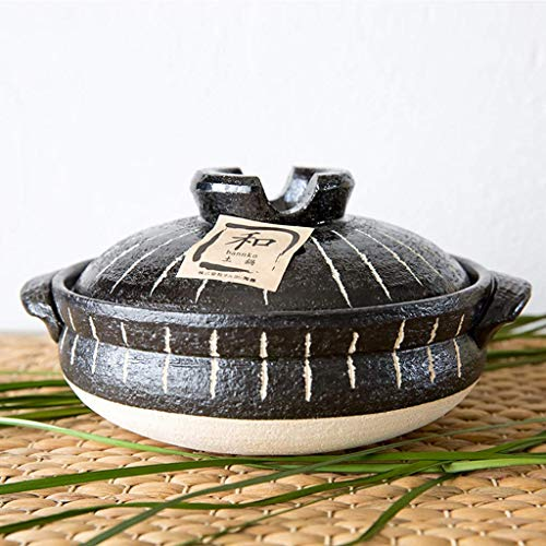 Donabe Japanese Hot Pot,Heat-resistant Ceramic Casserole With Lid,Clay Rice Cooker Pot,Round Casserole Dish,Clay Pot,Slow Stew Pot,Stockpot,Health Saucepan Black 3.4l
