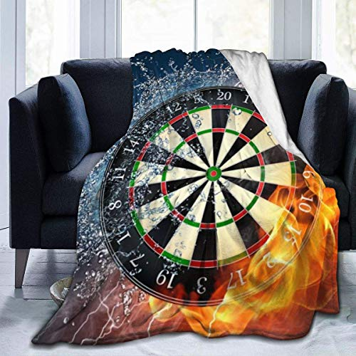 Inontime Decke Dart Board Target Ice Fire - Flannel Fleece Blanket Super Soft Cozy Warm Throw Blanket Microfleece Blanket for Couch Home Bed Sofa Chair, Easy Care, All Season Use,Queen Size 80