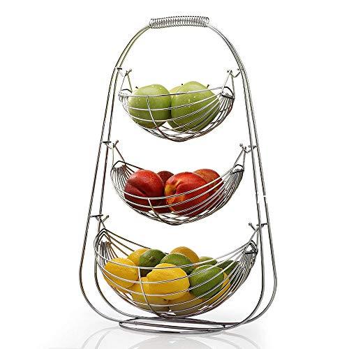 Yinmake Corbeille à fruits en métal chromé - Double hamac - Support de rangement à 3 étages pour salon, salle de réunion, couloir (argent)