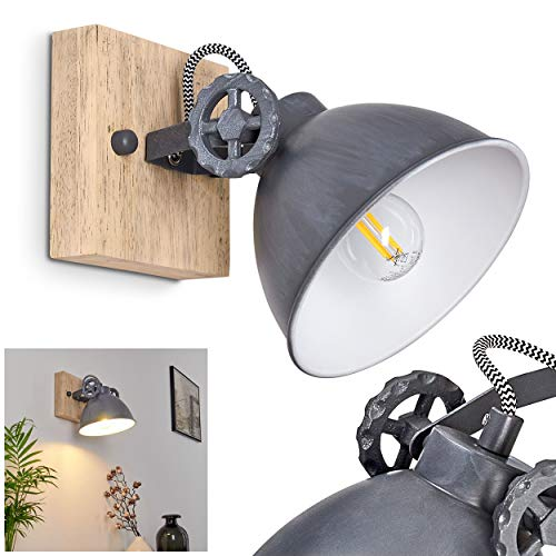 Wandleuchte Svanfolk, Wandlampe aus Metall und Holz in Blau-Grau/Natur, 1-flammig, mit verstellbarem Strahler, 1 x E14-Fassung, max. 40 Watt, Retro/Vintage Design