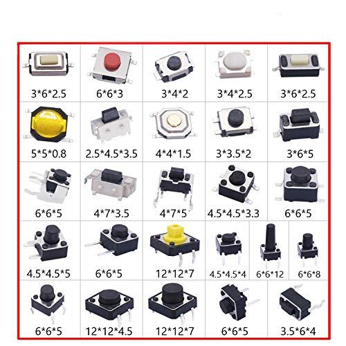 Taiss 260 unidades de 26 valores Micro Momentary Tact SwitchTactile Interruptor de botón, 4 polos, 3 polos, 2 polos, QC-26V