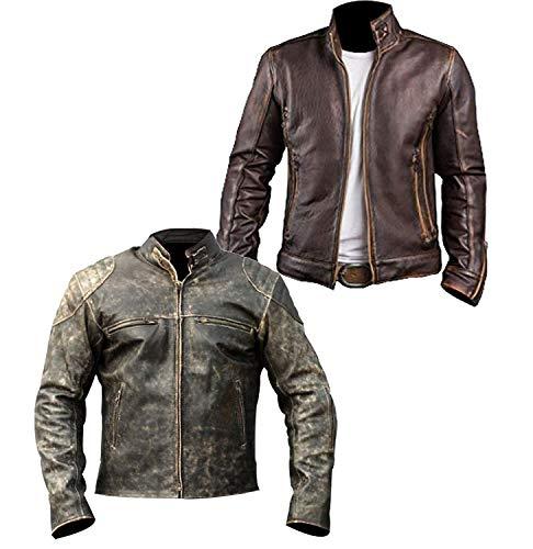 Dunhill Leather Cafe Racer Distressed hellgrünes, gewachstes Motorrad-Echtleder-2xl