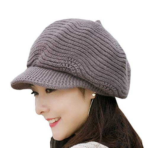 SWEDREAM Sombrero Invierno Gorros de Punto Gorras para Mujeres Crochet Cálido Suave Sombreros de Esqui, color marron