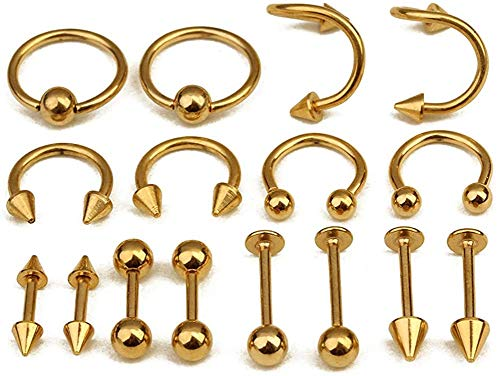 EVBEA 8 Pairs Nose Ring Surgical Steel Helix Piercing Earrings 18G Hoop Ring Lip Bars Helix Daith Cartilage Tragus Nose Studs Septum Piercing Jewellery