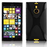 Cadorabo Hülle für Nokia Lumia 1520 Hülle in Handyhülle aus flexiblem TPU Silikon im X-Line Design Silikonhülle Schutzhülle Soft Back Cover Hülle Bumper Oxid Schwarz