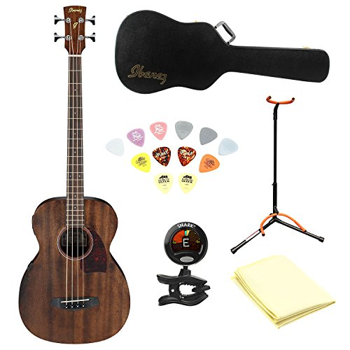 Ibanez PCBE12MH Grand Concert Acoustic-Electric Bass Guitar Open Pore Mahogany Top With Polishing Cloth, Picks, Tuner, Matching Hardcase and Stand