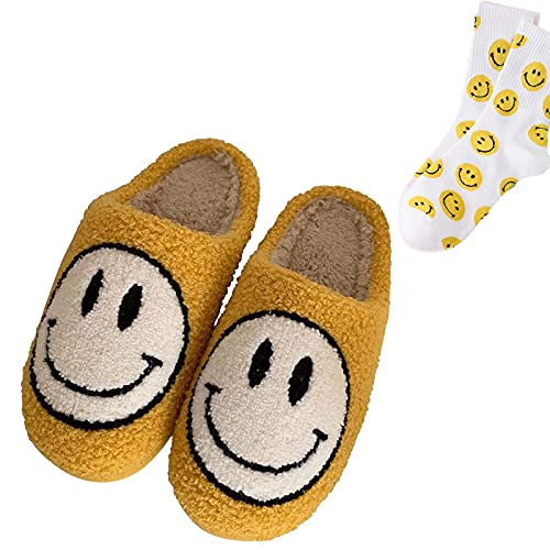 QTPD Smiley Face Plush Fluffy Slippers, Retro Smiley Face Soft Plush Comfy Warm Slip-on Slippers, Cute Cartoon Non Slip Indoor Furry Warm House Shoes for Winter (34-35,Yellow)