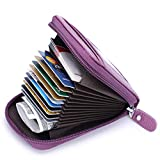 MaxGear Credit Card Wallet with Zipper, Genuine Leather RFID Credit Card Holder for Women Ladies Wallets Purple