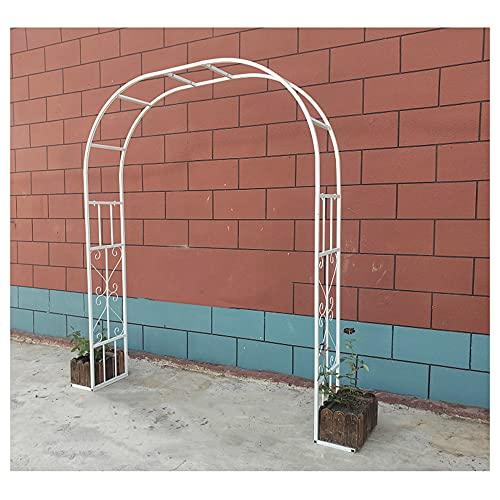 GEREP Arco de Rosas Arco de Metal, Resistente a la Intemperie, para Plantas Trepadoras Y Rosas, CéSped de PéRgola de JardíN/Blanco / W250×H240cm