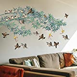 Gaint Removable DIY Green Bamboo and Flying Birds Wall Decals Creative 3D TV Sofa Background Decoration Wall Sticker Peel and Stick Decor for Living Room Bedroom Kids Nursery House Offices Rooms